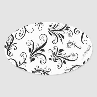 Venetian Damask, Ornaments, Swirls - Black White Oval Sticker