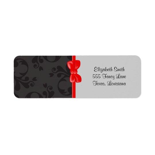 Venetian Damask, Ornaments, Swirls - Grey Black Return Address Label
