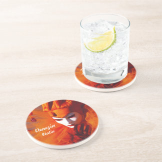 Venetian Harlequin In Orange Carnival Costume Drink Coasters