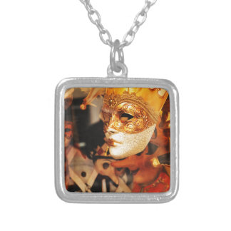 Venetian masks silver plated necklace
