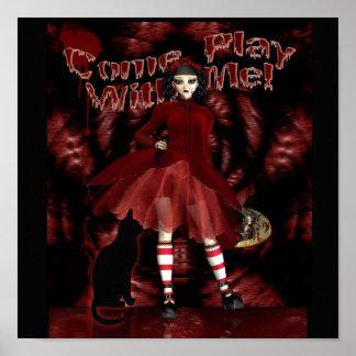 Venez le jeu avec moi copie gothique, poupée gothi affiches