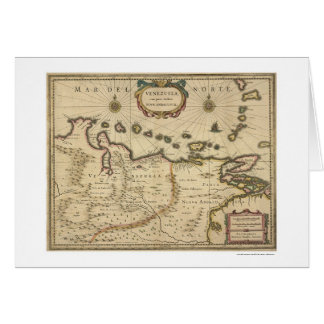 Venezuela by Hondius Map - 1630 Card
