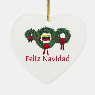 Venezuela Christmas 2 Ceramic Heart Ornament