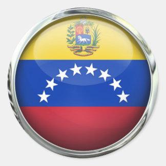 Venezuela Flag Glass Ball Classic Round Sticker