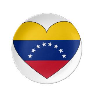 Venezuela Flag Heart Plate