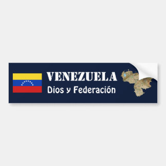 Venezuela Flag + Map Bumper Sticker