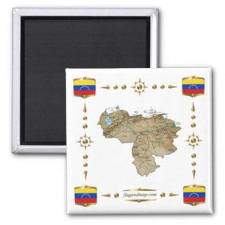 Venezuela Map + Flags Magnet