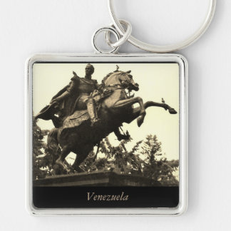 Venezuela Silver-Colored Square Keychain