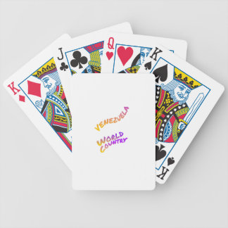 Venezuela world country, colorful text art bicycle playing cards