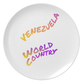 Venezuela world country, colorful text art plate