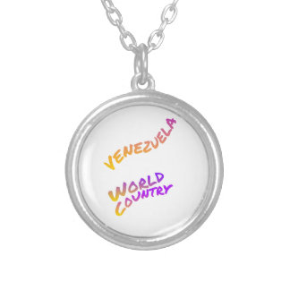 Venezuela world country, colorful text art silver plated necklace