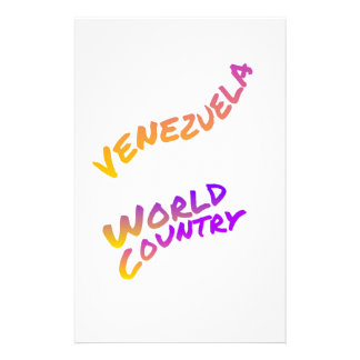 Venezuela world country, colorful text art stationery