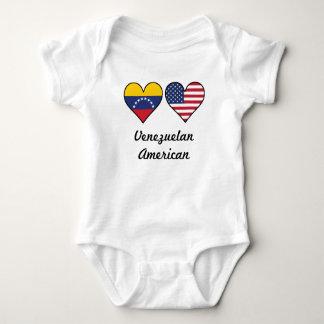 Venezuelan American Flag Hearts Baby Bodysuit