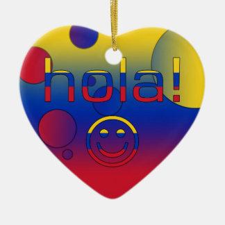 Venezuelan Gifts : Hello / Hola + Smiley Face Ceramic Ornament