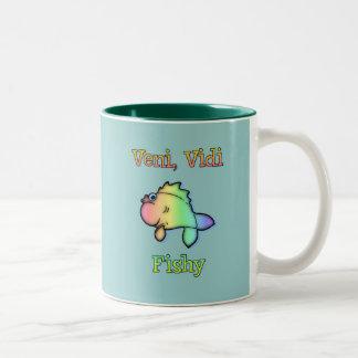 Veni Vidi Fishy Two-Tone Coffee Mug