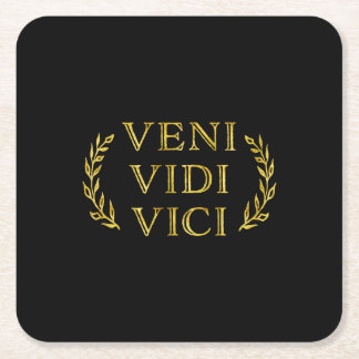 Veni Vidi Vici Funny Game Winner Square Paper Coaster