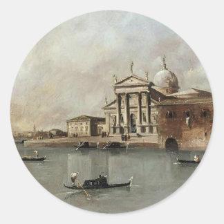 Venice: A View of the Church by Francesco Guardi Classic Round Sticker