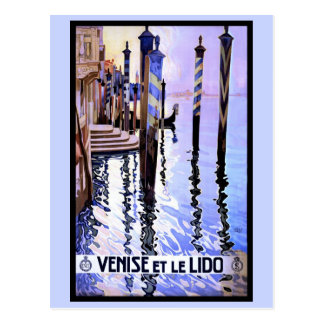 Venice and Lido Vintage Italian travel Poster Postcard