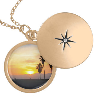 Venice Beach California Sunset Souvenir Gold Plated Necklace