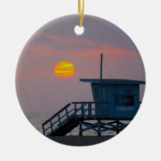 Venice Beach Sunset Ceramic Ornament