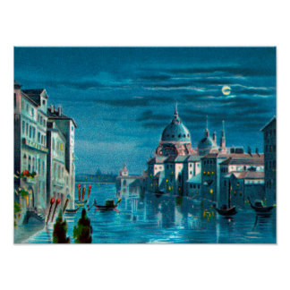 Venice by Moonlight Poster