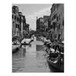 Venice Canal Poster Black and White