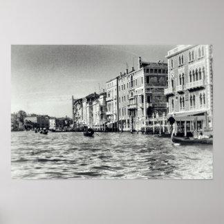 Venice Canal Waterway Italy Gondola Black & White Poster