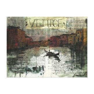 Venice collage art canvas print