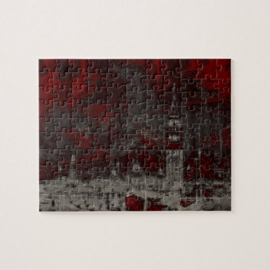 VENICE DISTRESSED NO. 1 Gothic Red Grunge City Jigsaw Puzzle