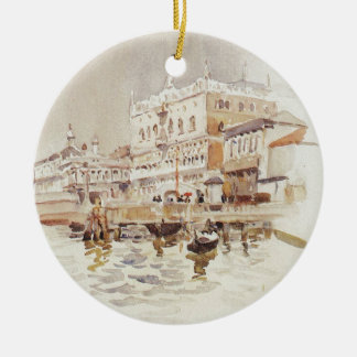 Venice. Doge's Palace. by Vasily Surikov Round Ceramic Ornament