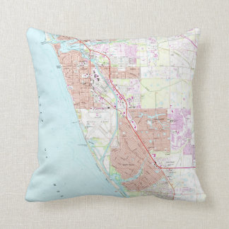 Venice Florida Map (1973) Throw Pillow