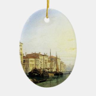 Venice Grand Canal, Sunset by Richard Bonington Ceramic Oval Ornament