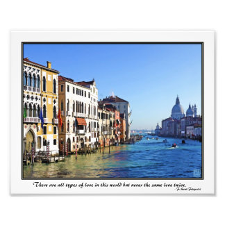 Venice Grand Canal with Love Quote Photograph