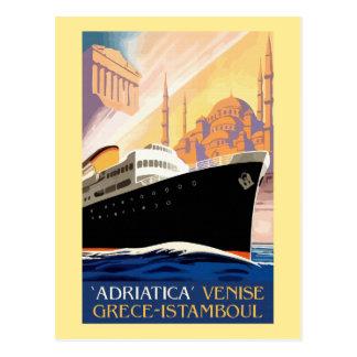 Venice Greece Istanbul shipping line retro vintage Postcard
