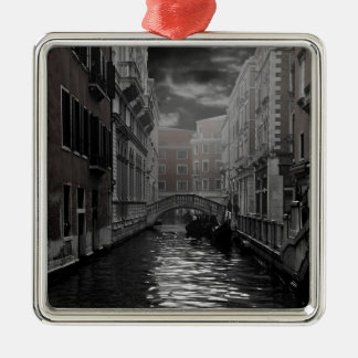 Venice in Black and White Metal Ornament