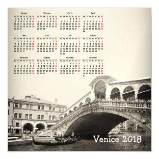 Venice, Italy 2018 calendar magnetic card