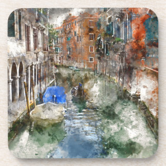 Venice Italy Boats in the Canal Drink Coaster