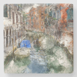 Venice Italy Boats in the Canal Stone Beverage Coaster