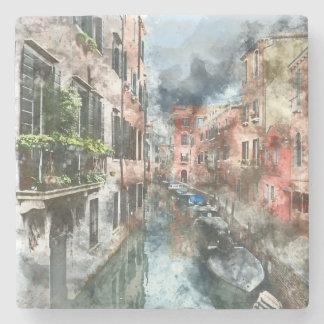 Venice Italy Boats in the Canal Stone Coaster