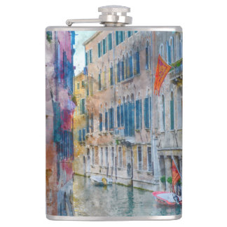 Venice Italy Boats in the Grand Canal Hip Flask