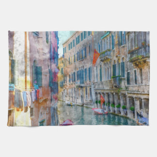 Venice Italy Boats in the Grand Canal Kitchen Towel