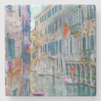 Venice Italy Boats in the Grand Canal Stone Coaster