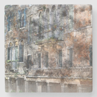 Venice Italy Colorful Buildings Stone Beverage Coaster