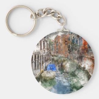 Venice Italy Gondola Basic Round Button Keychain