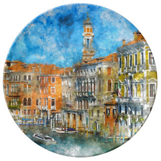 Venice Italy Gondola Grand Canal Porcelain Plate