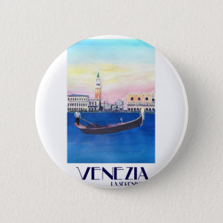 Venice Italy Gondola on Grand Canal with San Marco 2 Inch Round Button