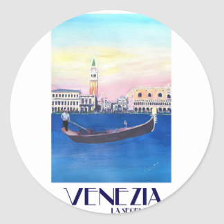 Venice Italy Gondola on Grand Canal with San Marco Classic Round Sticker