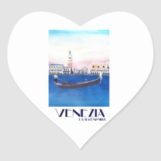 Venice Italy Gondola on Grand Canal with San Marco Heart Sticker