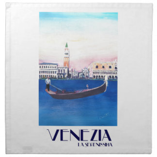 Venice Italy Gondola on Grand Canal with San Marco Napkin