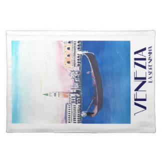 Venice Italy Gondola on Grand Canal with San Marco Placemat